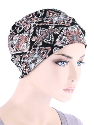 CKC-128#Chemo Cloche Cap in Winter Nordic Pink