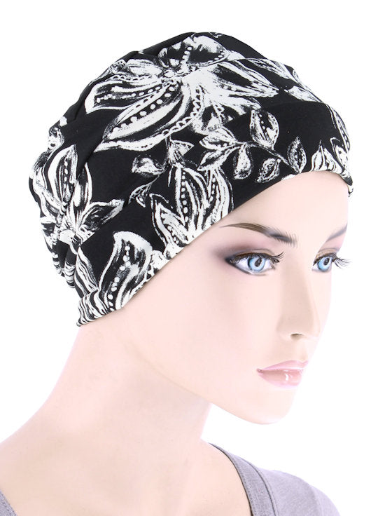 CKC-129#Chemo Cloche Cap in Black and White Tropical Floral