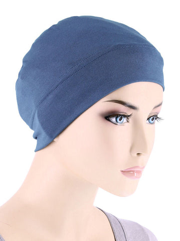 CE-CHEMOCAP-DUSTYBLUE#Chemo Cap in Dusty Blue