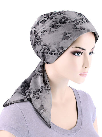 CFS-1083#Chemo Fashion Scarf Gray Cheetah