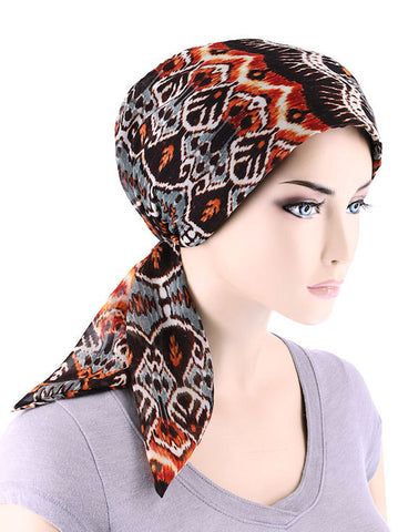 CFS-1111#Chemo Fashion Scarf Tribal Brown