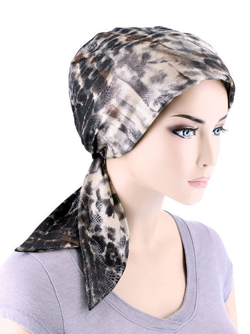 CFS-1125#Chemo Fashion Scarf Leopard Brown Shimmer