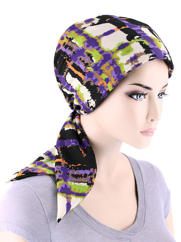 CFS-1139#Chemo Fashion Scarf Heritage Purple Abstract