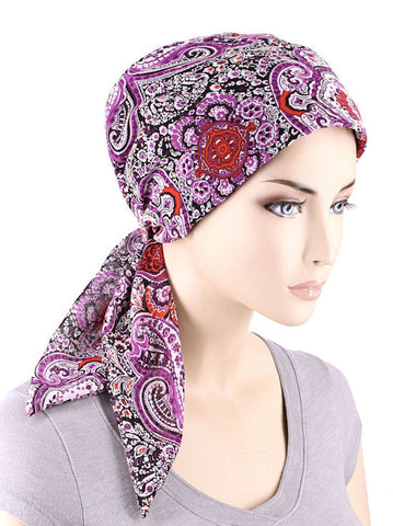 CFS-1141#Chemo Fashion Scarf Purple Paisley