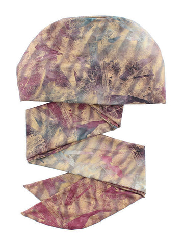WPS-868#Chemo Head Wrap Scarf in Burgundy Gold Abstract Brushed