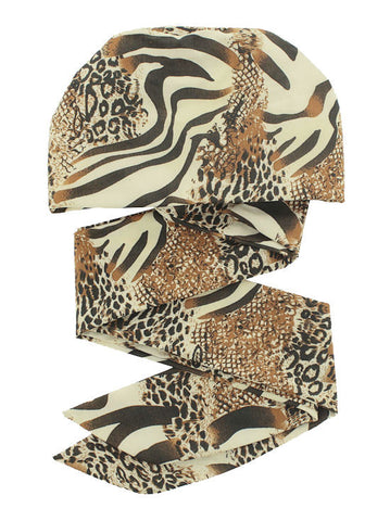 WPS-870#Chemo Head Wrap Scarf in Ivory Beige Animal Print
