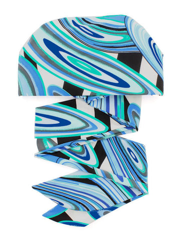 WPS-872#Chemo Head Wrap Scarf in Shades of Blue Swirl