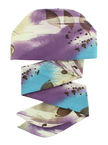 WPS-873#Chemo Head Wrap Scarf in Purple Water Floral