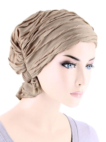 ABBEY-684#The Abbey Cap in Taupe Micro Twist Ruffle
