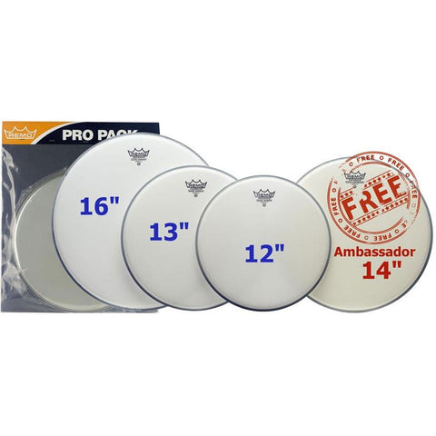 "REMO STANDARD COATED EMPEROR PRO PACK + FREE 14"" COATED AMBASSADOR    PP-1010-BE"