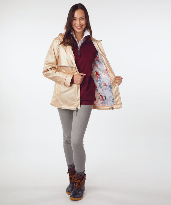 Charles River Women's New Englander Rain Jacket With Floral Printed Lining