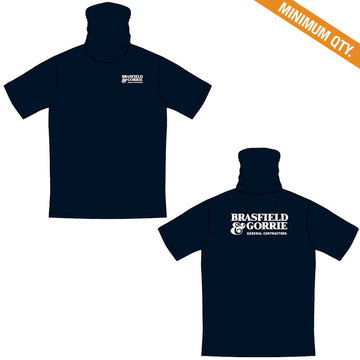 Poly Jersey Gaiter Short Sleeve T-shirt - Navy