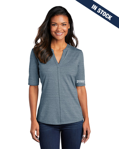 Port Authority Ladies Stretch Heather Open Neck Top - Blue/Gusty Grey