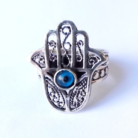 Sterling Silver Hamsa Ring Blue Evil Eye of Fatima