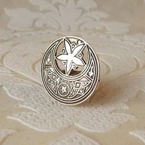 Crescent Moon Star Sterling Silver Ring with Adjustable Band Wholesale Jewelry