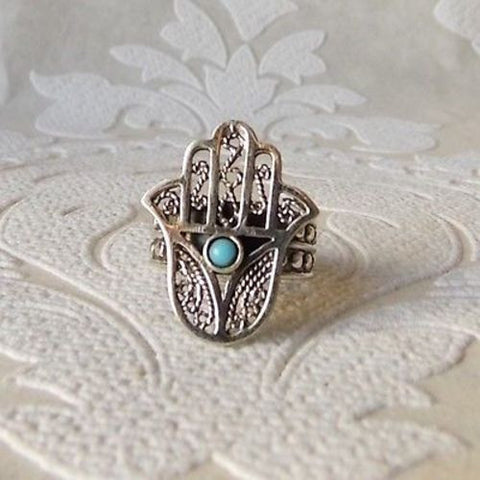 Sterling Silver Hamsa Ring Blue Evil Eye of Fatima Wholesale Khamsa Jewelry