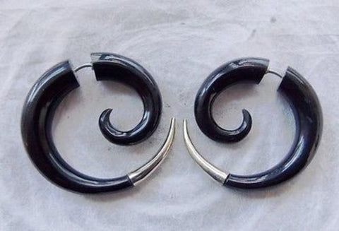Silver Tip Spiral Fake Gauge Earrings Illusion Expanders