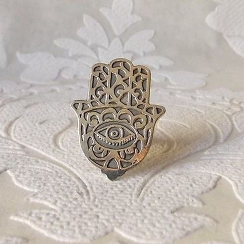 Sterling Silver Hamsa Ring Evil Eye Good Luck Charm Wholesale Jewelry from Egypt