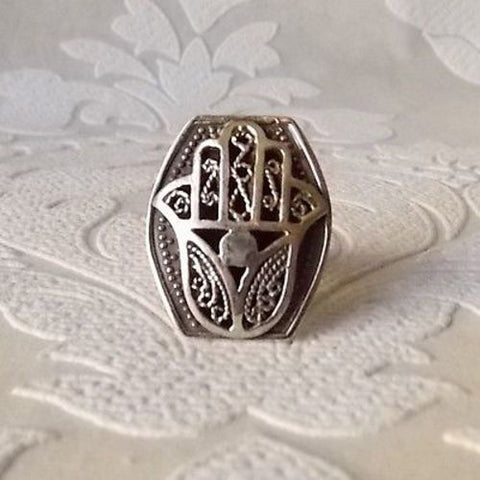 Sterling Silver Hamsa Ring Evil Eye Good Luck Charm Wholesale Khamsa Jewelry