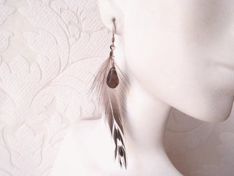 Smokey Quartz and Feather Earrings