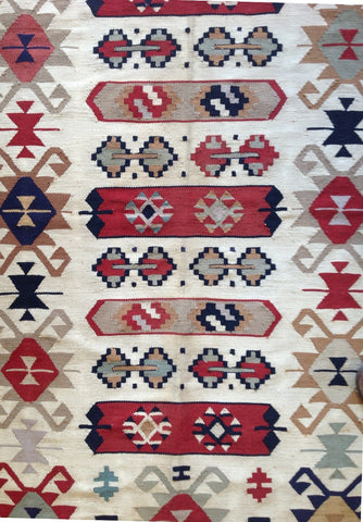 Beige Red Multi 3' x 5.5' Wool Area Rug made in Egypt Bohemian Lifestyle
