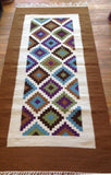 Brown Blue Multi 3' x 6.5' Wool Area Rug made in Egypt Geometric Bohemian