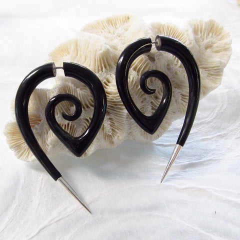 Tribal Fake Gauge Earrings Black Horn Spiral Girl with the Dragon Tattoo Jewelry