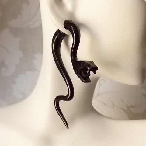 Snake Serpent Carved Black Horn Fake Gauge Earrings Tribal Statement Jewelry