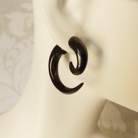 X-Small Spiral Fake Gauge Earrings in Carved Black Horn