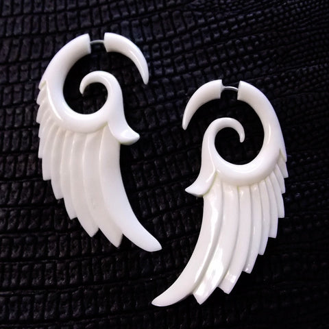 Angel Wing Feather Tribal Fake Gauge Earrings White Bone Split Bridal Jewelry