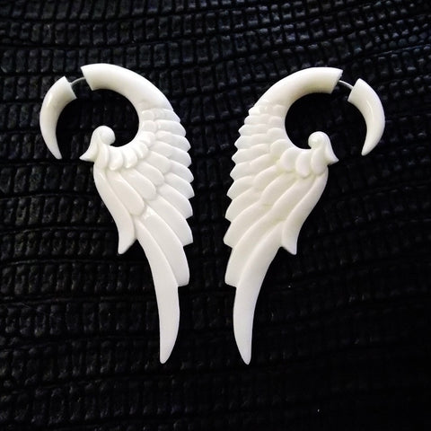 Angel Wing Feather Fake Gauge Tribal Earrings White Bone Split Bridal Jewelry
