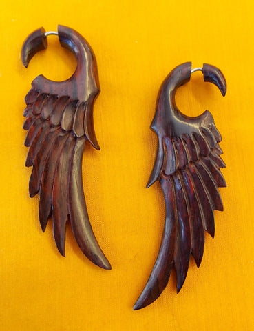 Angel Wing Tribal Fake Gauge Earrings Organic Sono Wood Tattoo Jewelry Gift