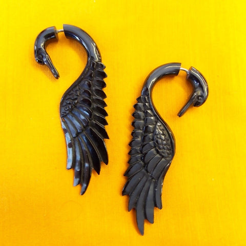 Swan Fake Gauge Earrings