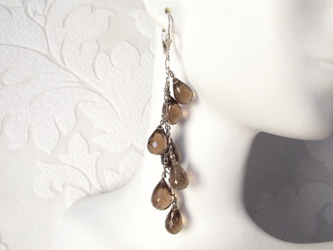 Smokey Quartz .925 Sterling Silver Waterfall Dangle Earrings