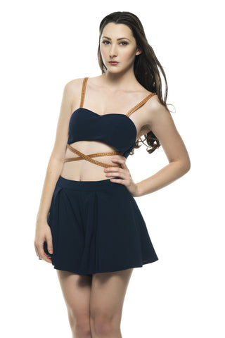 Naughty Grl Strappy & Sexy Two Piece Dress - Navy