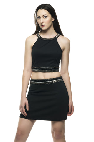 Bella Mini Skirt W/Contrast Color Hem Detail