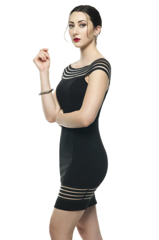 Designer inexpensive online boutique for women - Naughty Grl Elegant & Sheer Bodycon Dress - Black