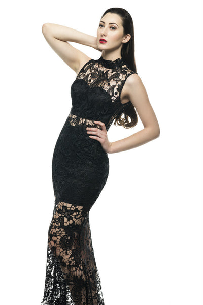 Naughty Grl Elegant Floral Crochet Maxi Dress - Black - NaughtyGrl