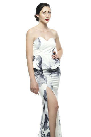 Inexpensive maxi dresses for any occasions - Naughty Grl Stylish & Chic Maxi Dress - Ivory & Grey
