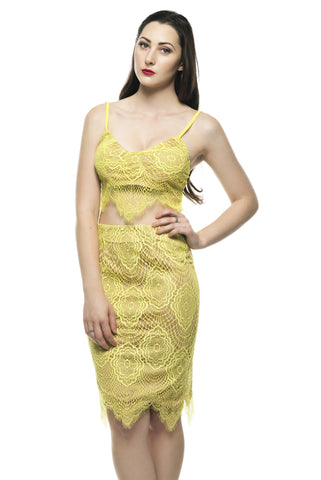 Shop the latest matched set outfits for a style statement - Naughty Grl Galmorous Two Piece Lace Dress - Lemon
