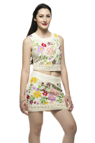 Shop the latest matched set outfits for a style statement - Elegant Embroidery Flower Garden Top