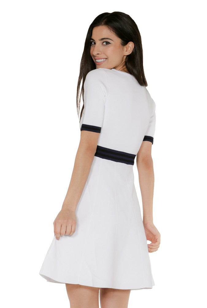 Naughty Grl Elegant Fit & Flare Dress - White Multi - NaughtyGrl