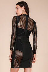 Naughty Grl Mesh Bandage Blocked Dress - Black - NaughtyGrl