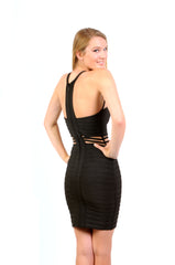 Naughty Grl Sexy Bodycon Bandage Dress - Black