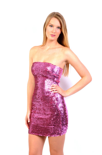 Naughty Grl Sparkly & Strapless Cocktail Dress - Pink - NaughtyGrl