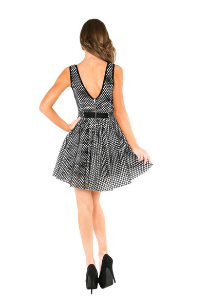 Naughty Grl Fit & Flare Dress - Black & White - NaughtyGrl