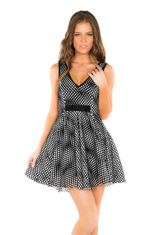 Designer inexpensive online boutique for women - Naughty Grl Fit & Flare Dress - Black & White