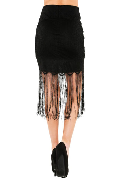 Naughty Grl Lace Mini Skirt With Fringe - Black - NaughtyGrl