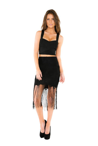 Designer inexpensive online boutique for women - Naughty Grl Lace Mini Skirt With Fringe - Black