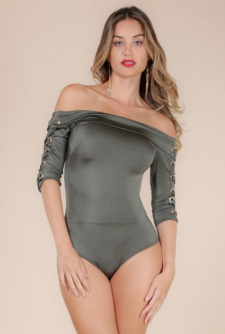 Designer inexpensive online boutique for women - Naughty Grl Dark Olive Bodysuit - NaughtyGrl